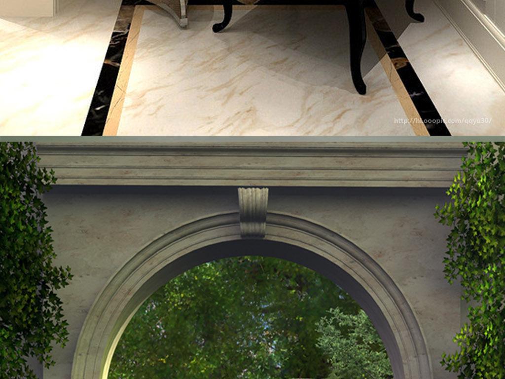 欧式拱门花园风景3d玄关