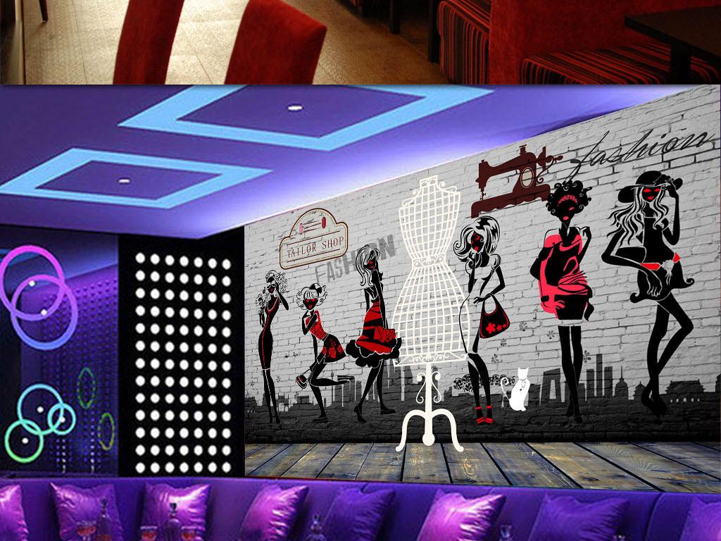 3d复古砖墙服装店形象墙背景装饰墙