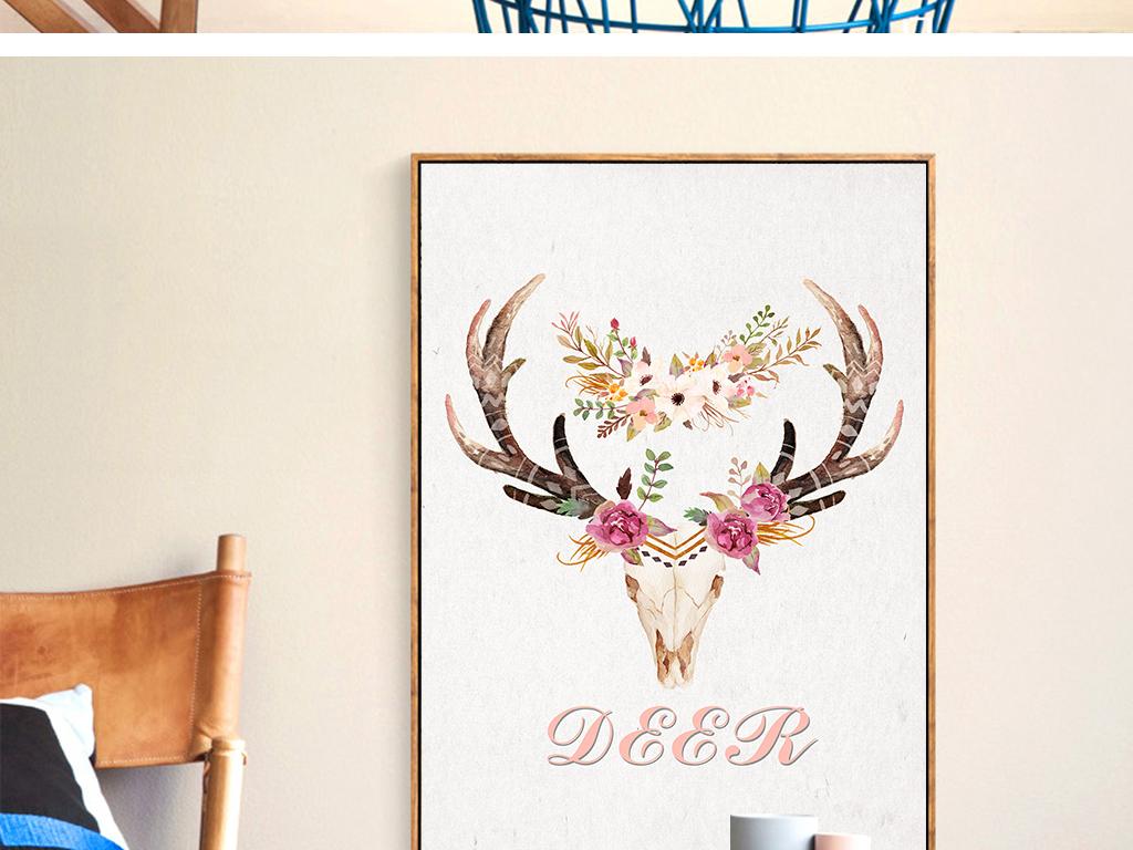 欧式创意抽象简约现代背景墙麋鹿水彩高清装饰画高清