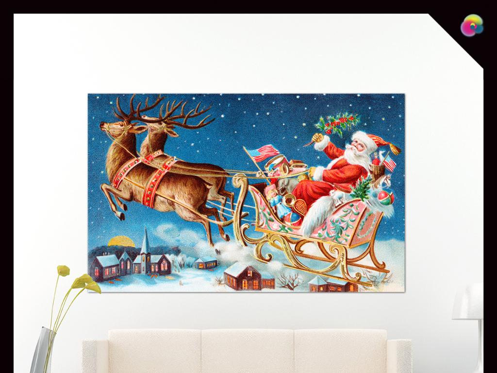 复古高清手绘欧式圣诞节风景油画装饰画