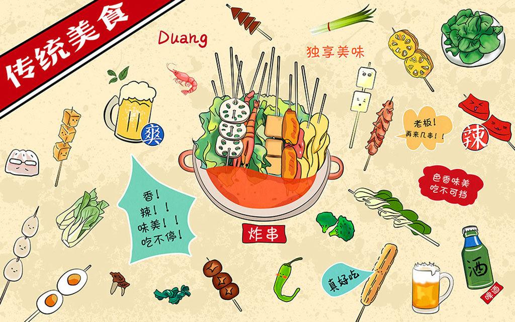 中华传统手绘美食卡通背景墙