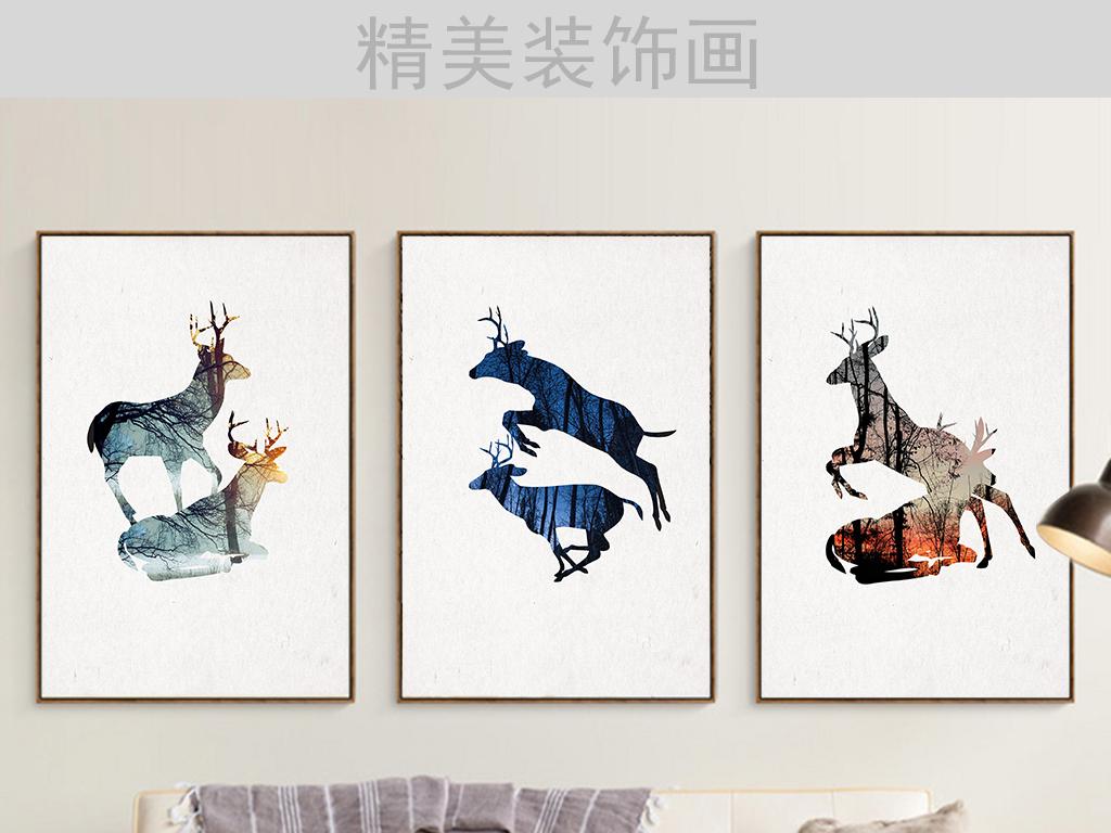 时尚北欧麋鹿三联装饰画(图片编号:15861670)_动物无