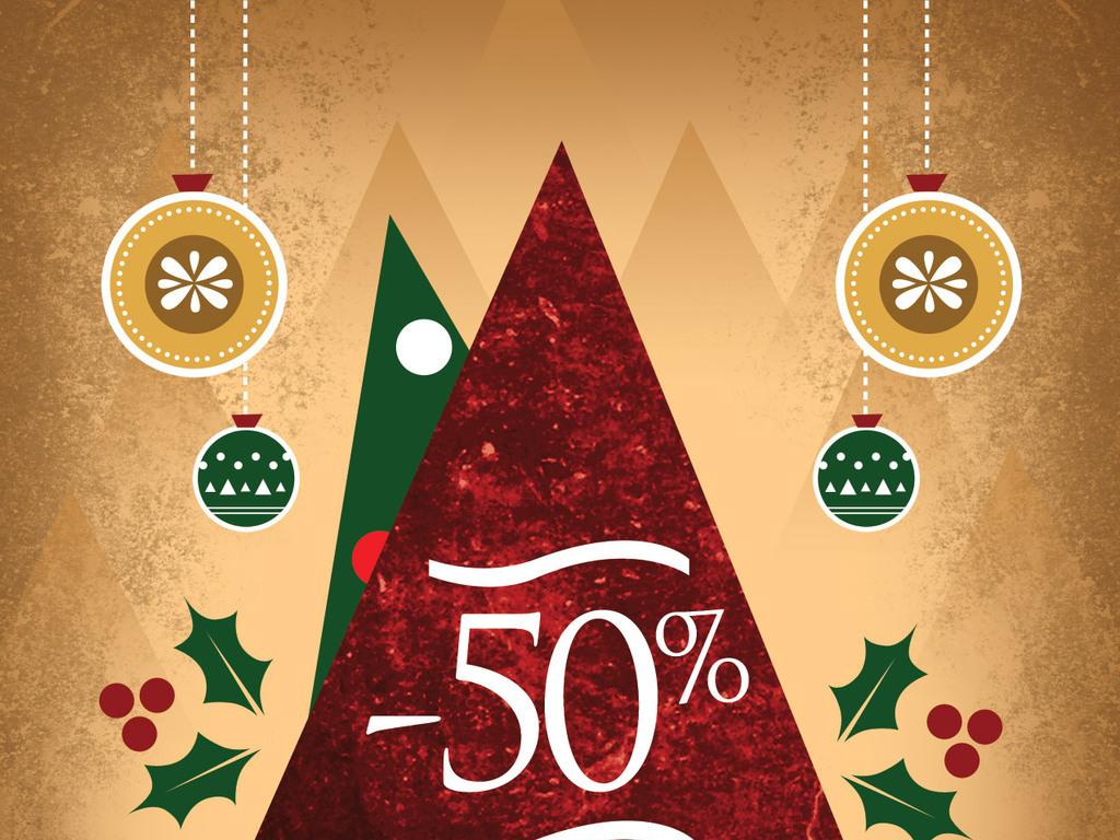 平面|广告设计 海报设计 国外创意海报 > 圣诞节促销复古海报psd模板