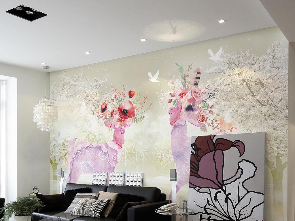 手绘樱花麋鹿背景墙