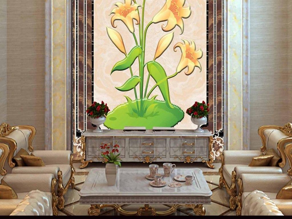 我图网提供精品流行2016高清欧式简约花卉玄关背景墙