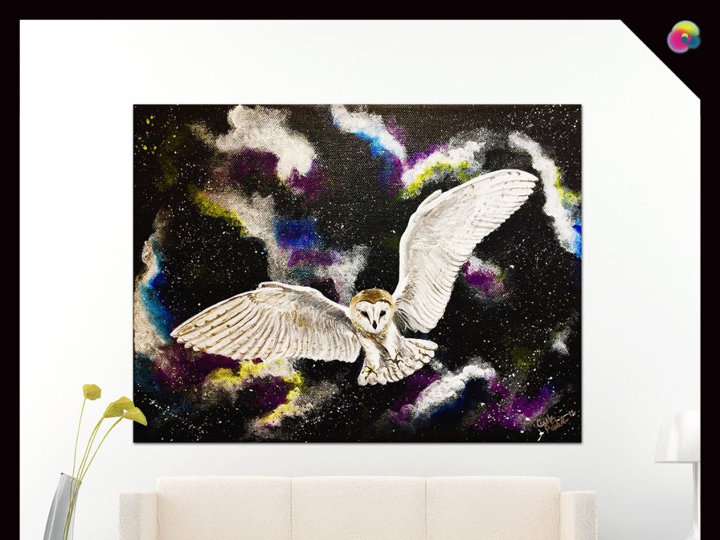 创意手绘动物猫头鹰油画玄关背景墙装饰画