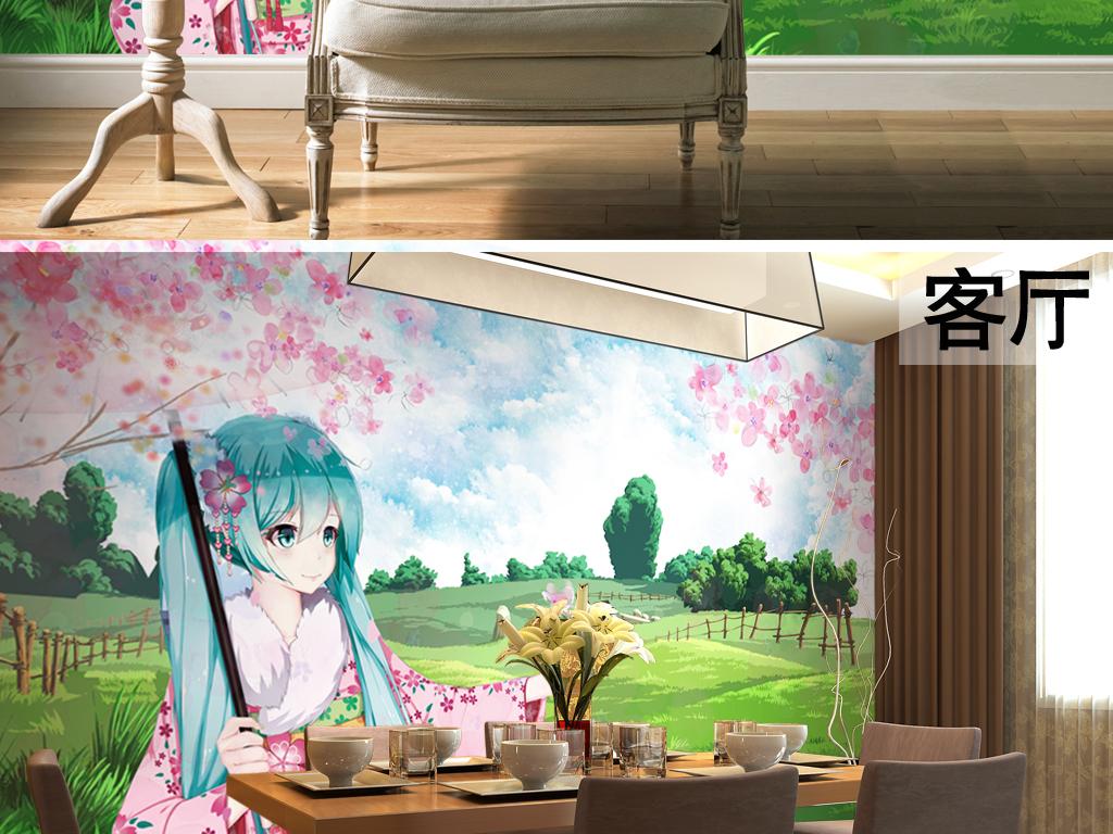 手绘樱花美少女主题儿童房壁画背景墙