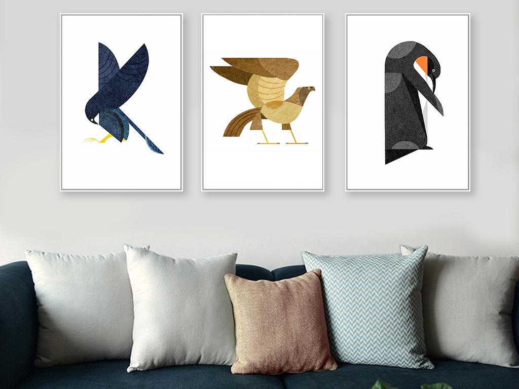 现代简约动物抽象画鸟三联装饰画