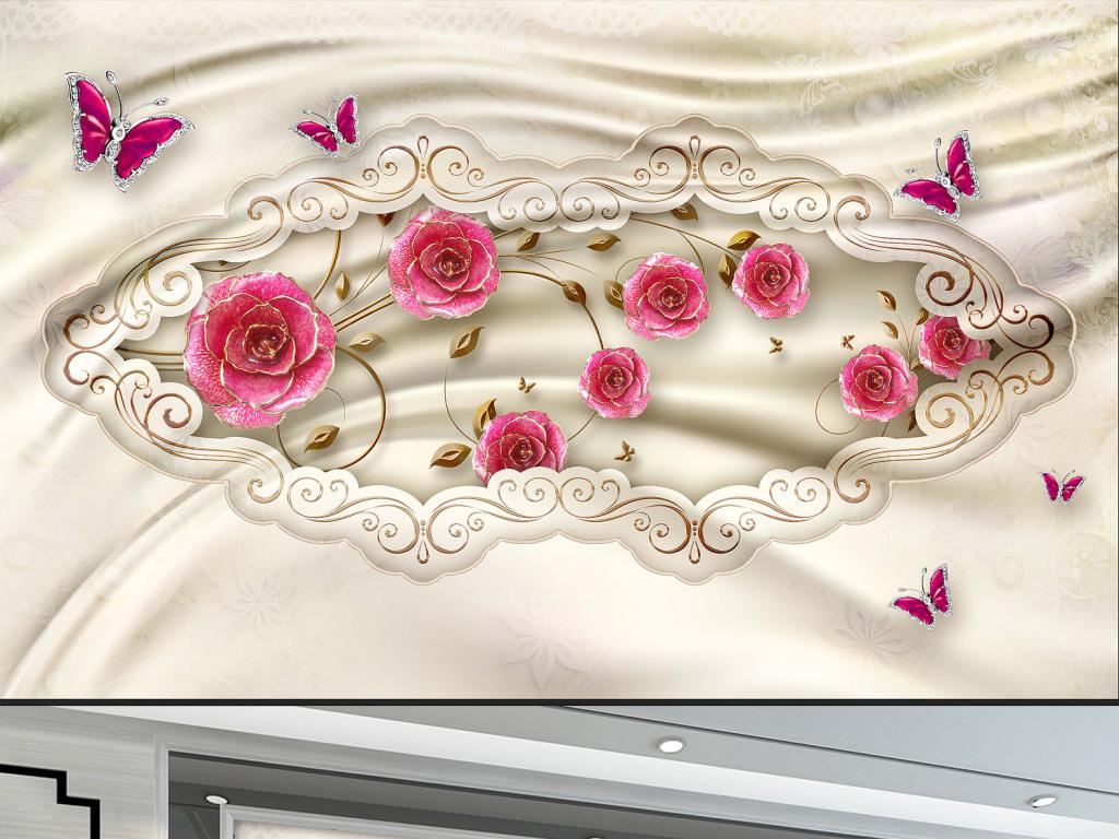 花朵立体背景迎客松壁画风景壁画客厅壁画幼儿园壁画