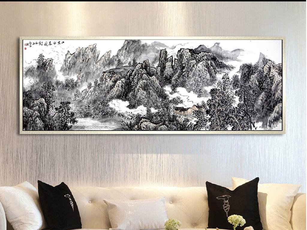 手绘黑白山水风景画装饰画无框画