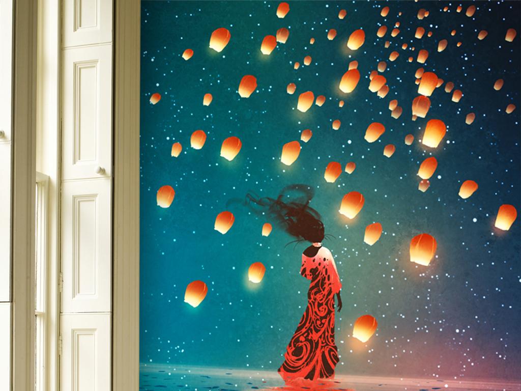 手绘美克美家欧式复古软装绘画挂画抽象灯笼女人印象水彩画海平面意境