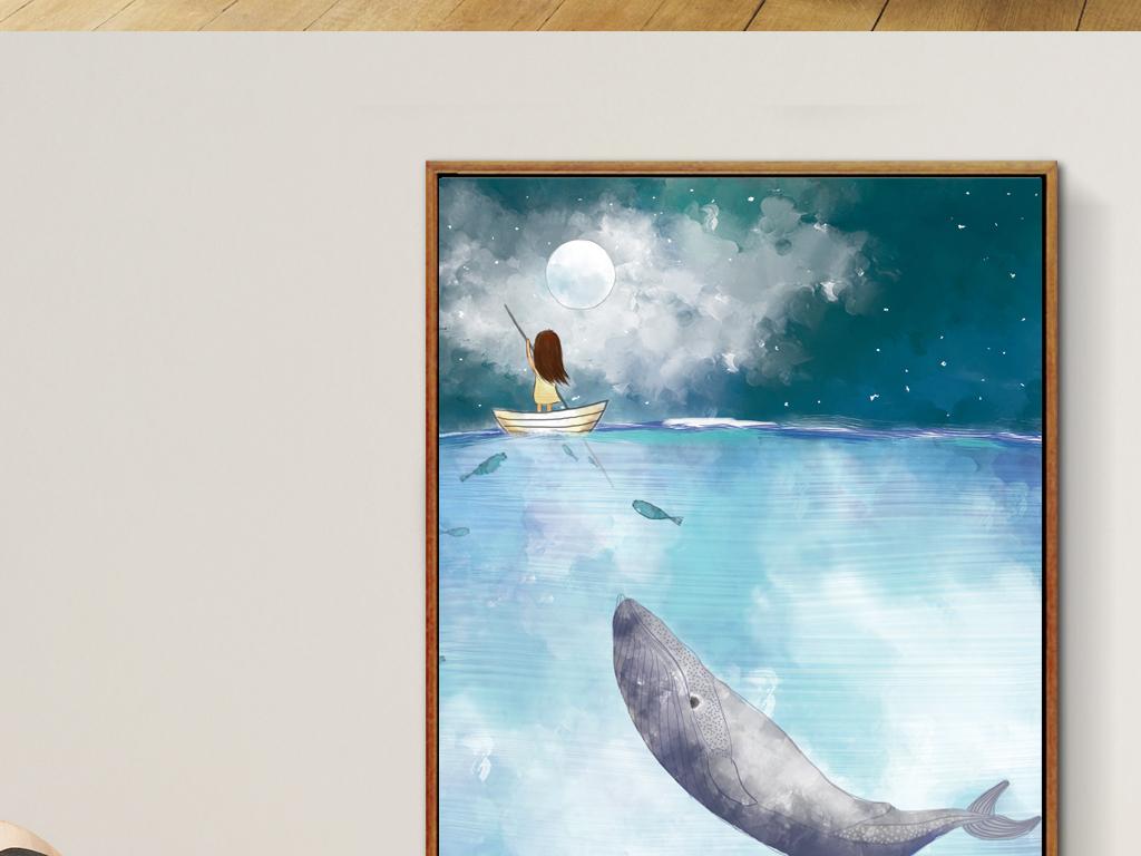 手绘美克美家欧式复古软装绘画挂画抽象印象水彩画海平面意境鲸鱼孩