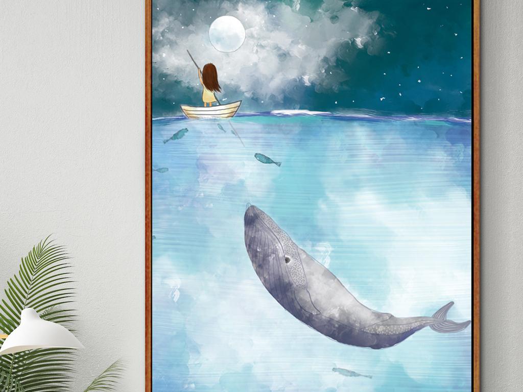 手绘鲸鱼壁纸黑白