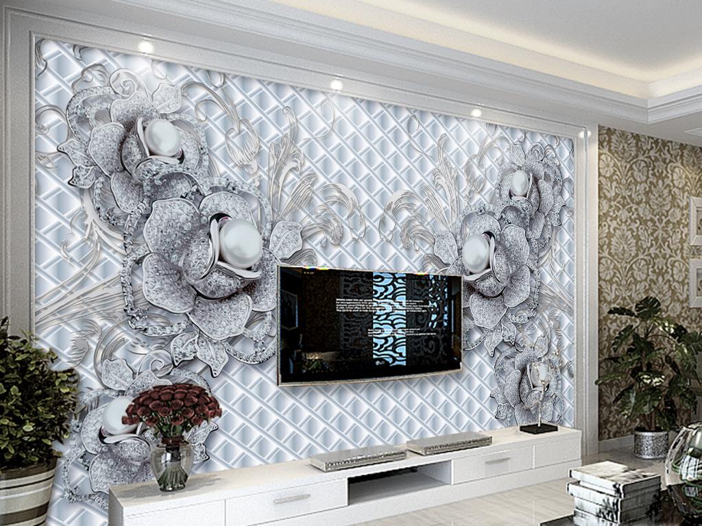 我图网提供精品流行尊贵珠宝花朵沙发客厅电视背景墙