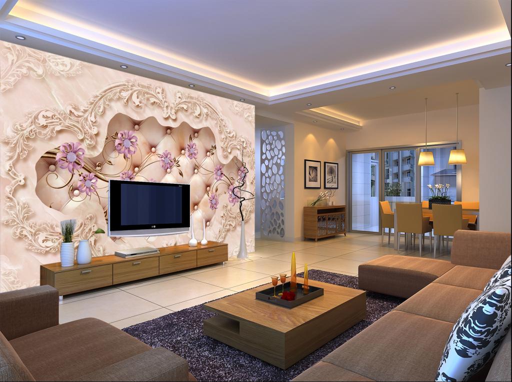 沙发背景墙花纹欧式大理石花朵欧式花朵3d立体图片3d