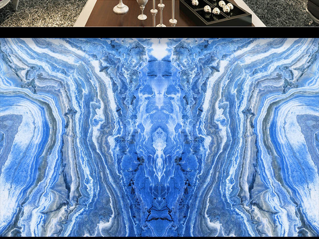 蓝色壁布效果图