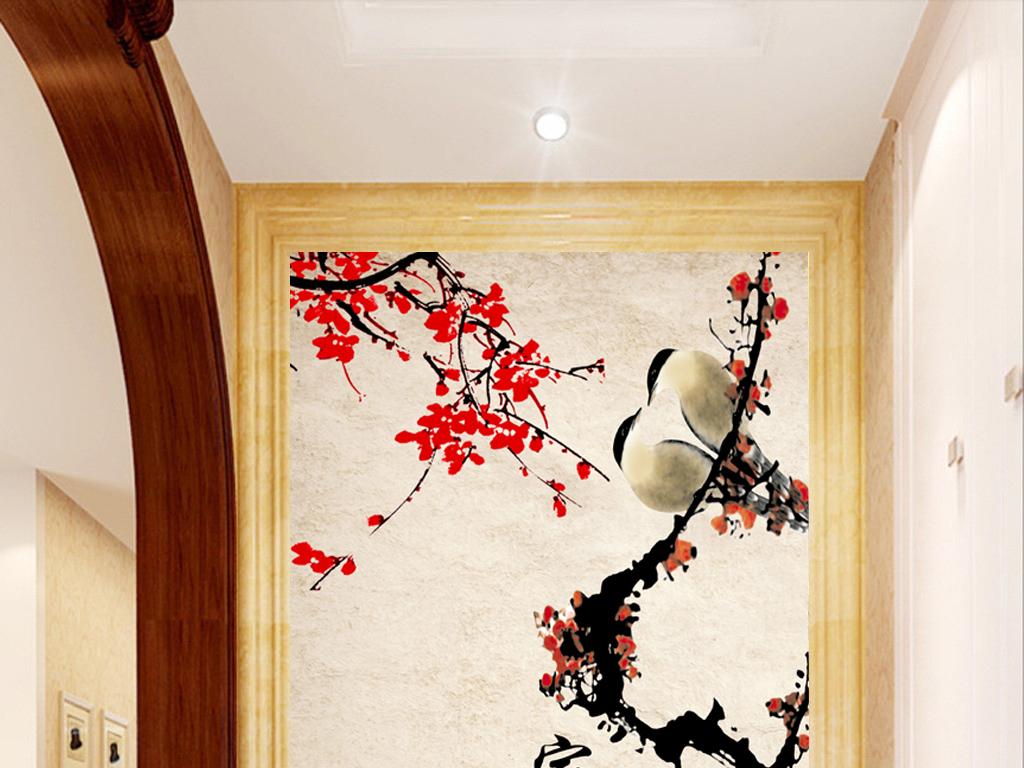 背景墙|装饰画 玄关 山水花鸟玄关图 > 中式家和富贵梅花报喜玄关  版图片
