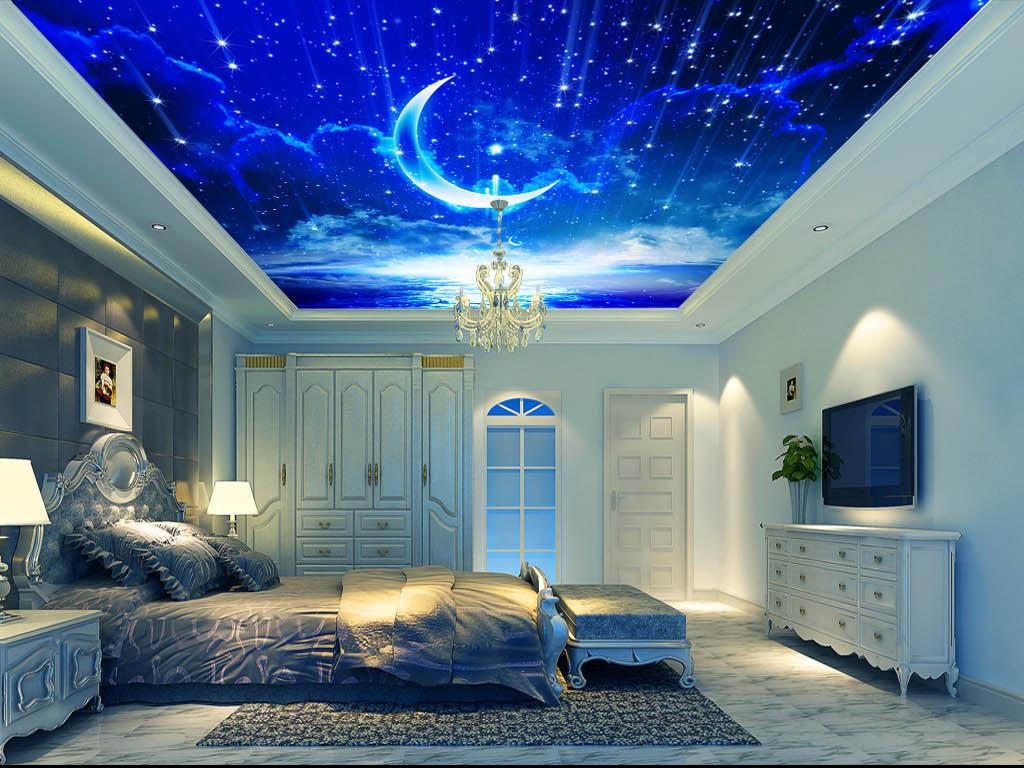 豪华吊顶壁画宾馆吊顶卧室吊顶客厅吊顶效果图月亮