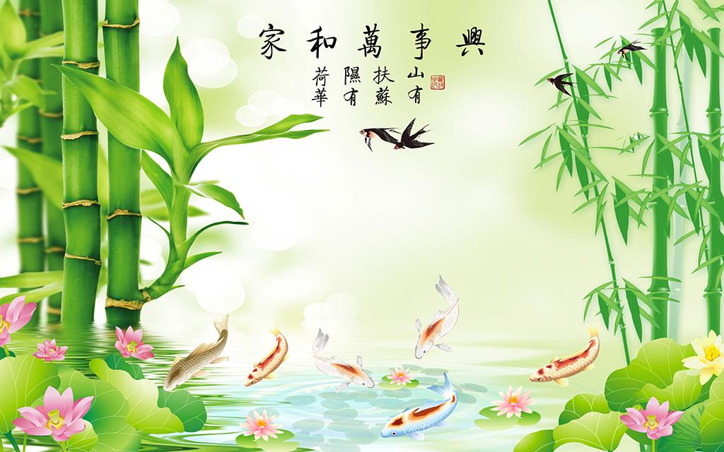 手绘荷花浮萍图片欣赏