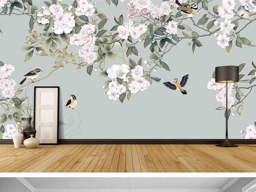 手绘花鸟图背景墙背景画