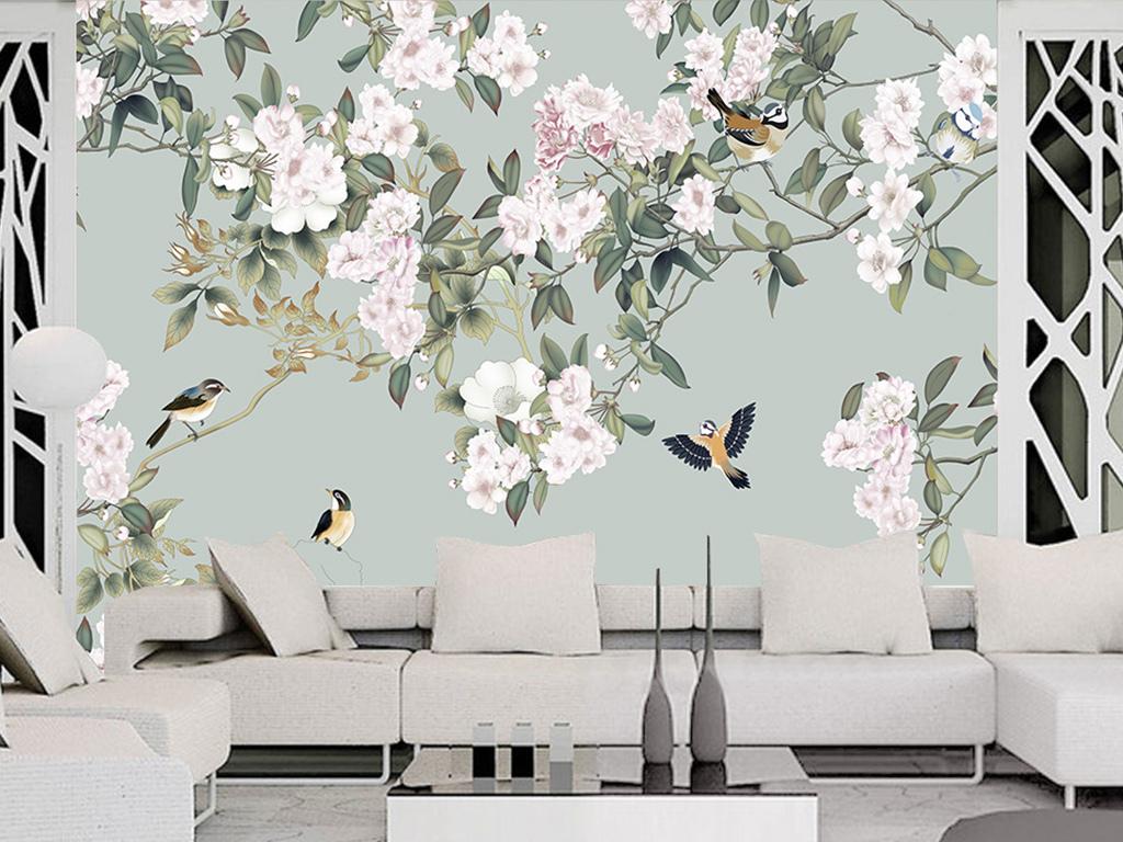 壁画文化墙艺术画手绘墙手绘背景墙墙纸壁纸背景墙手绘花鸟