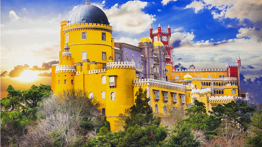 欧洲著名古城堡背景油画图片
