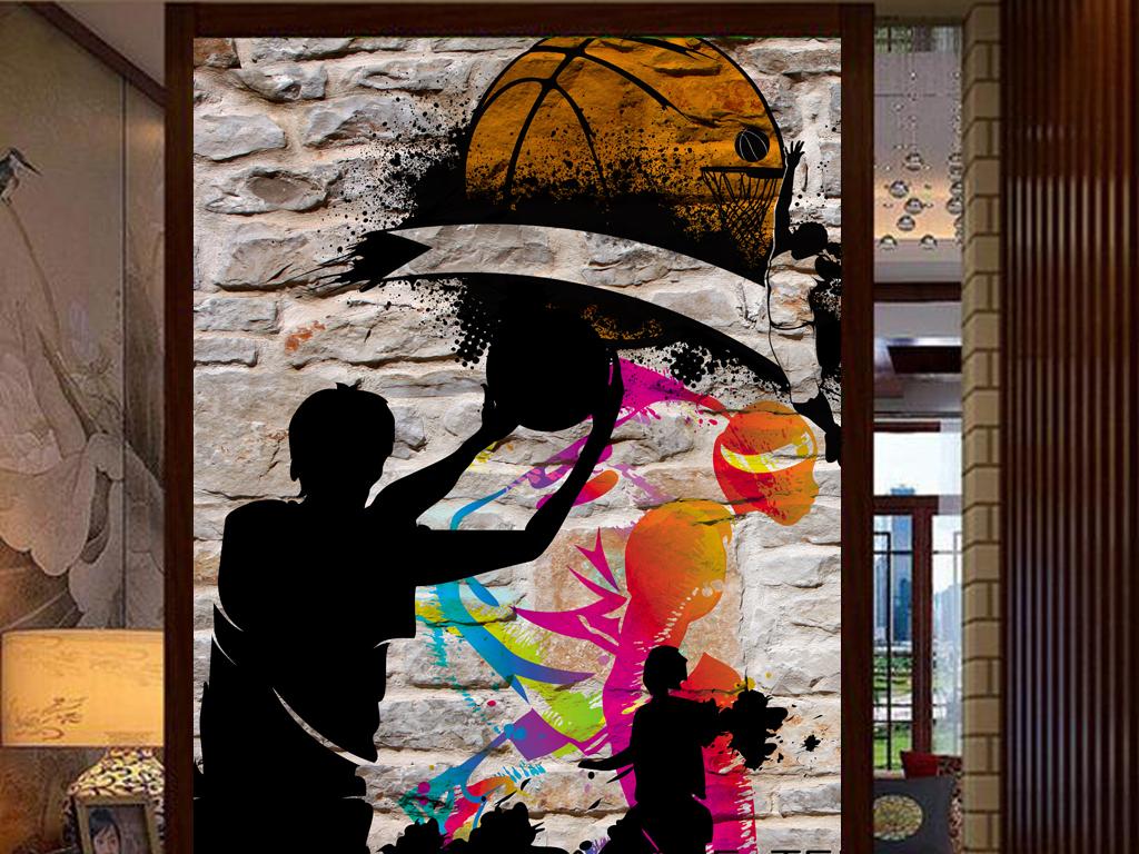 3d墙壁篮球运动涂鸦工装