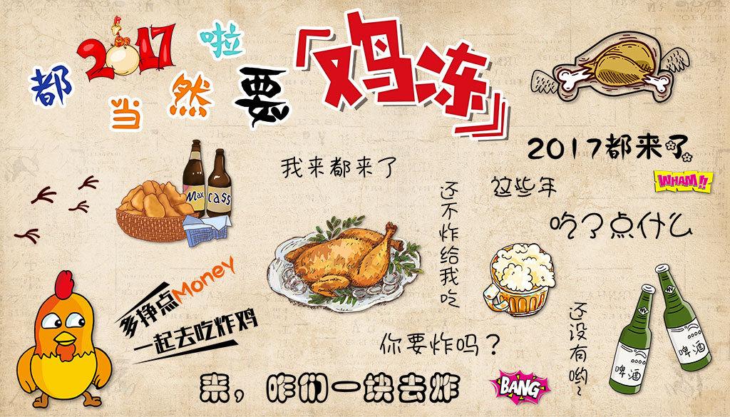2017鸡冻炸鸡卡通背景墙