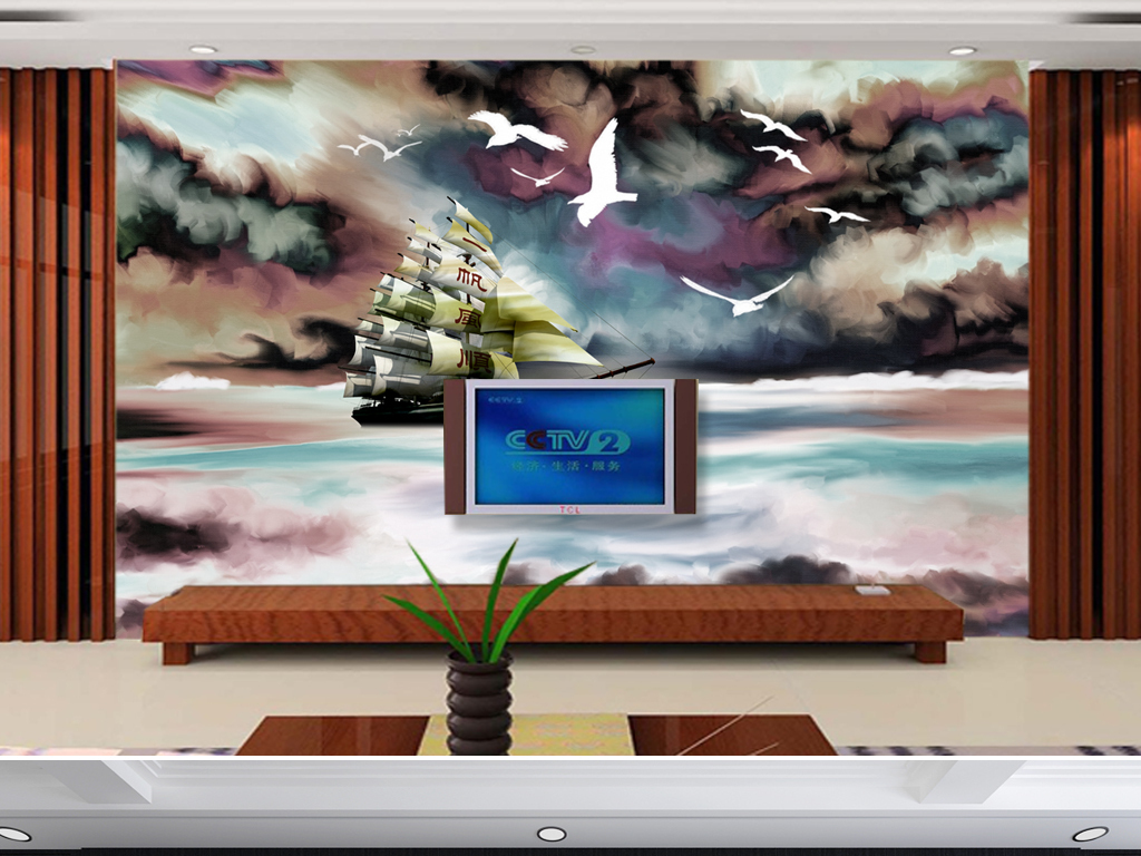 欧式油画一帆风顺3d电视背景墙