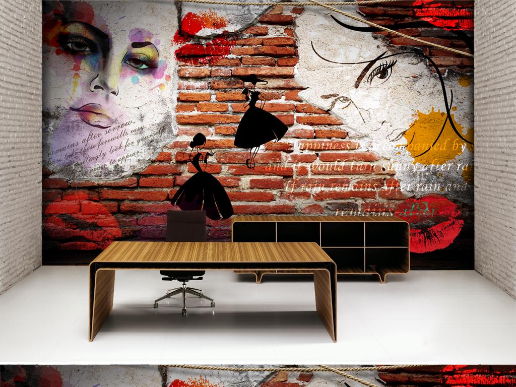 墙画形象墙手绘美女性感美女怀旧复古