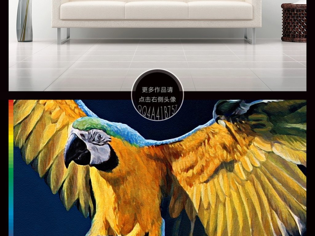 背景墙|装饰画 无框画 动物图案无框画 > 手绘鹦鹉热带雨林热带植物卡