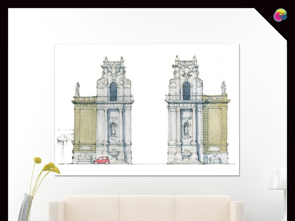 北欧现代简约手绘建筑塔水彩装饰画