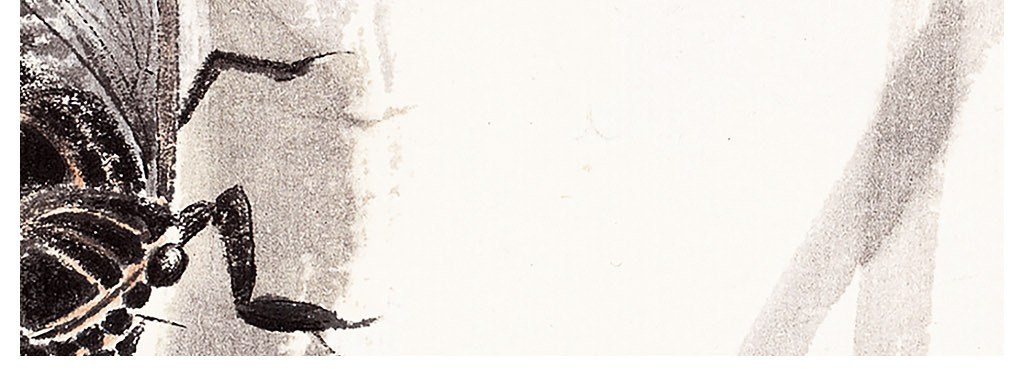 枫叶蝉红叶中式水墨国画三联简约装饰画