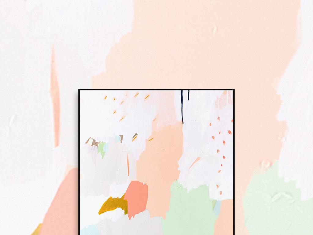 可爱卡通粉色果绿色色斑绘画竖幅抽象油画图片