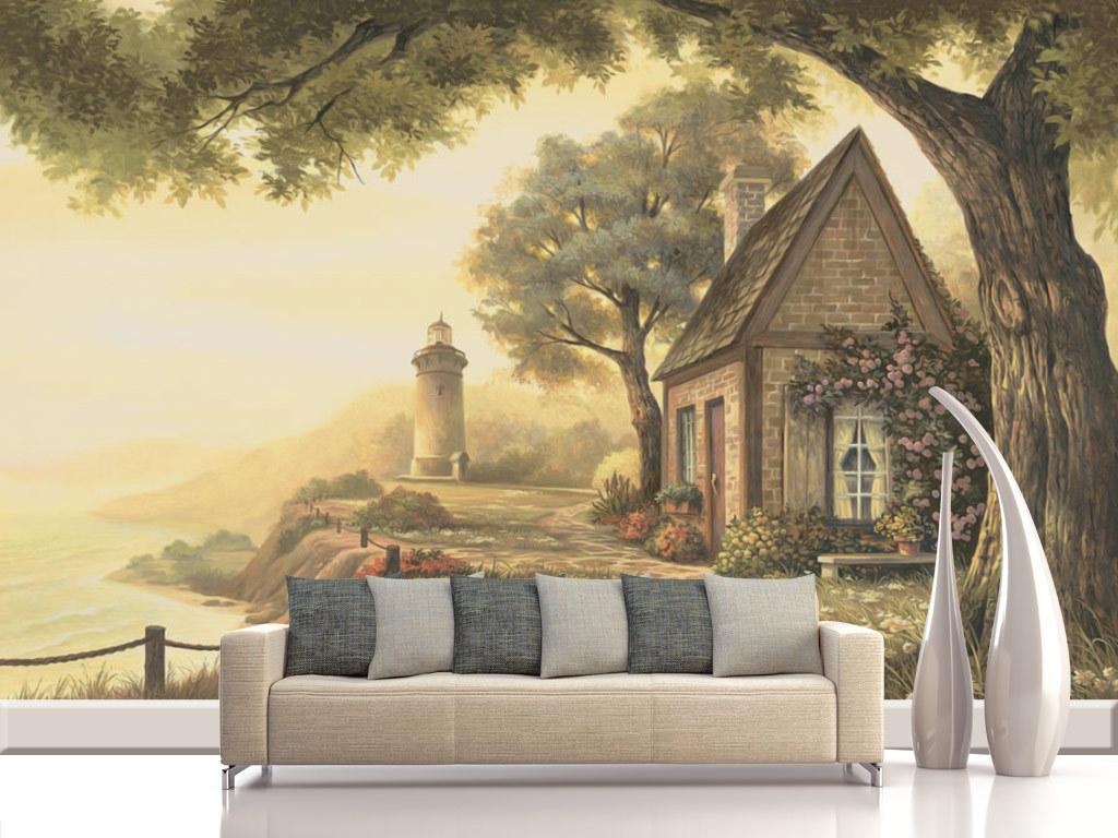 灯塔古树风景背景海边风景风景背景墙风景大树大树背