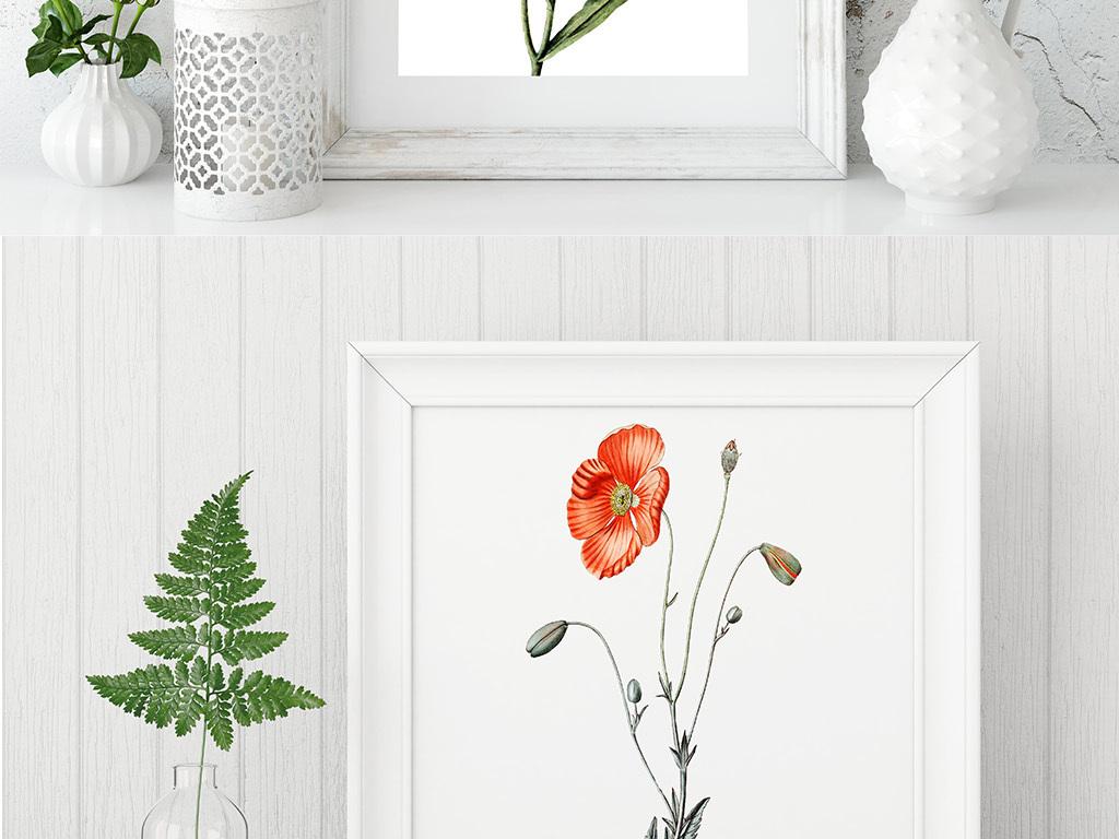 唯美手绘水彩花树叶无框画装饰画