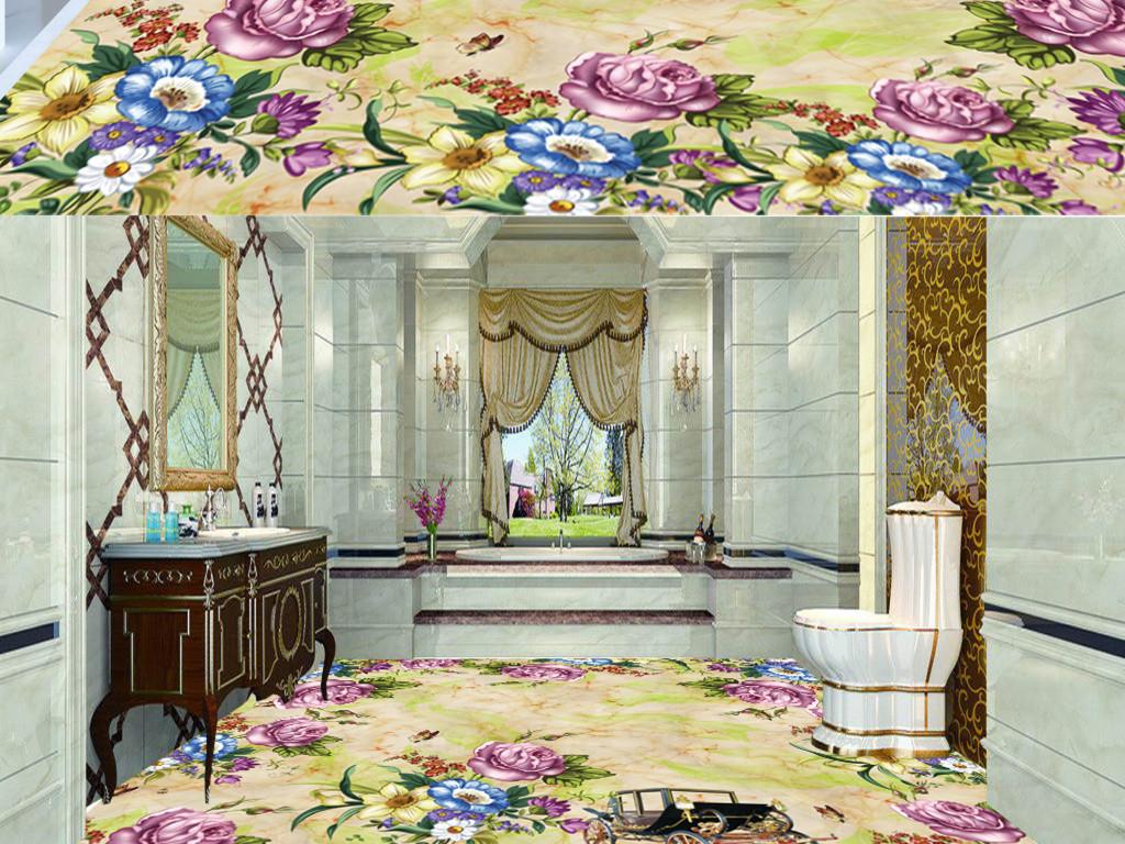 花卉欧式大理石纹3d地板地砖素材