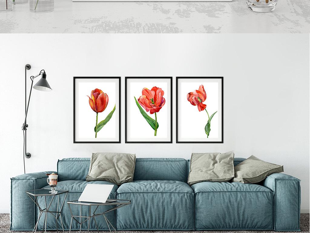 简约唯美手绘水彩红色花朵无框画