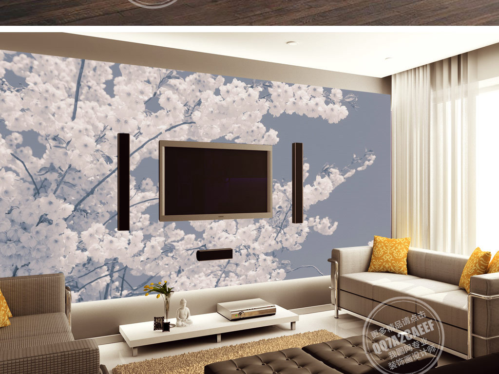 中世纪手绘樱花怀旧复古电视背景墙