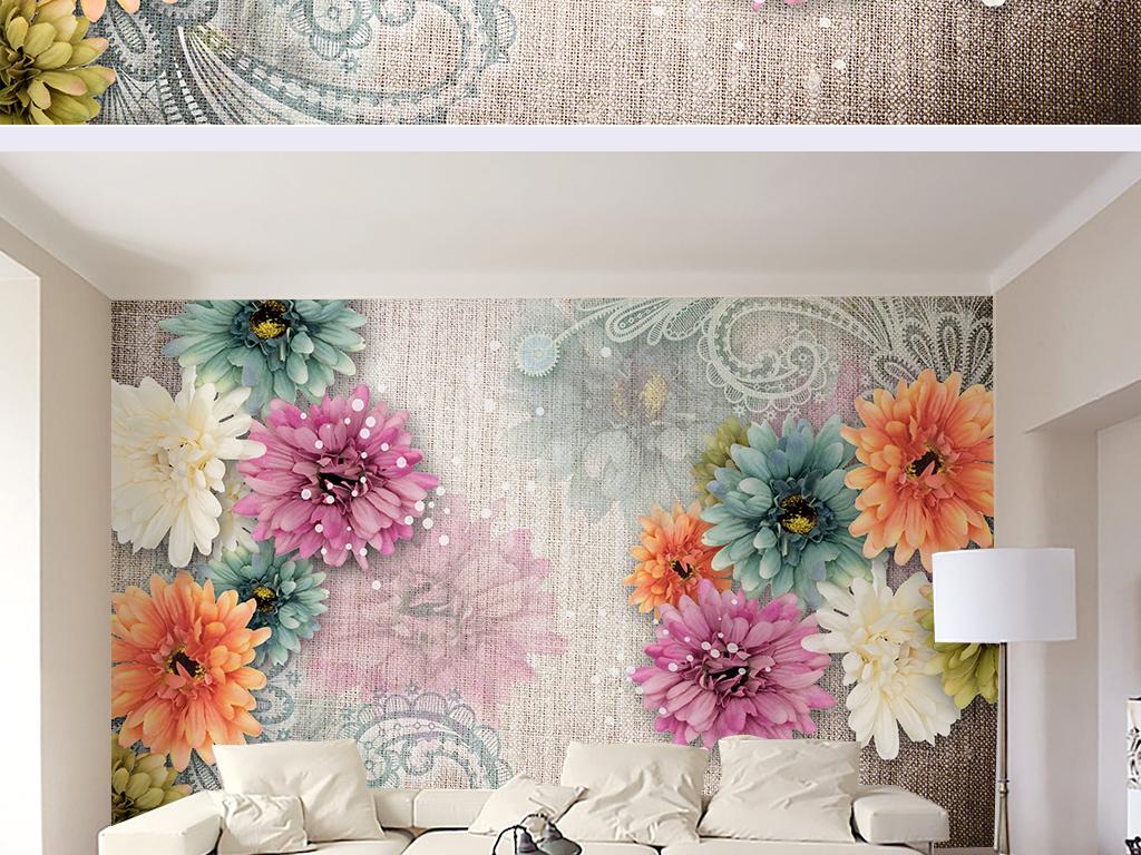 我图网提供精品流行复古花朵亚麻客厅卧室电视背景墙
