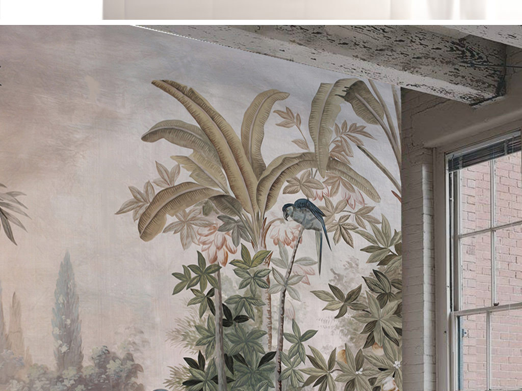 石柱手绘背景复古背景风景背景欧式背景电视背景欧式