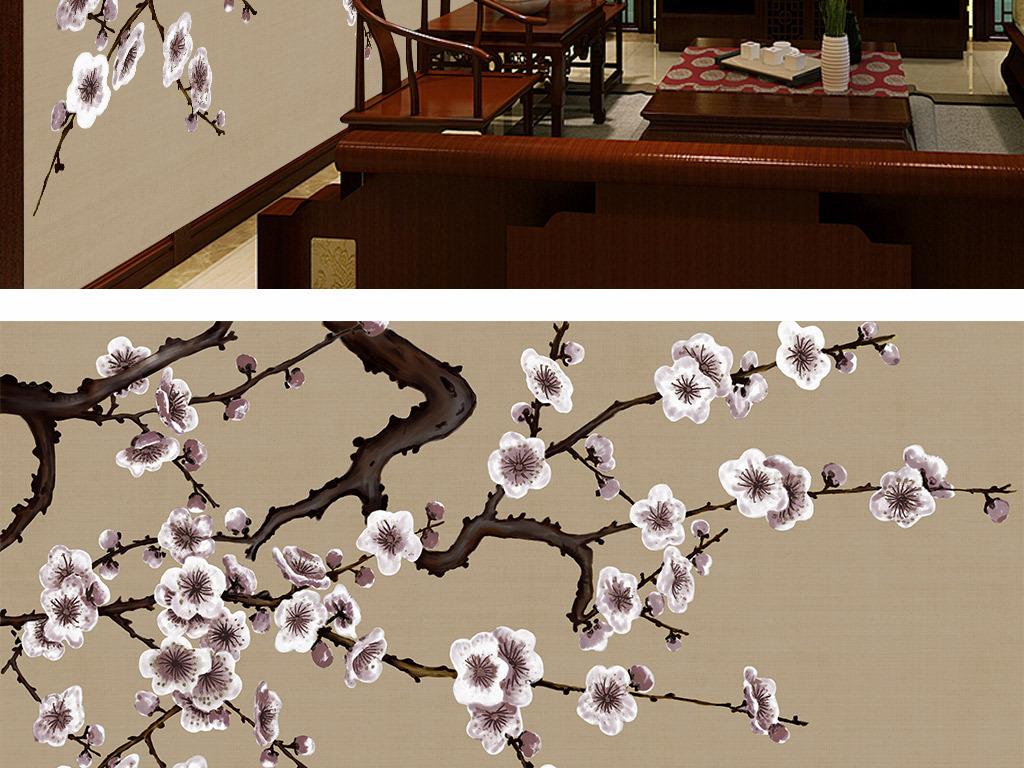 手绘梅花新中式背景墙装饰画
