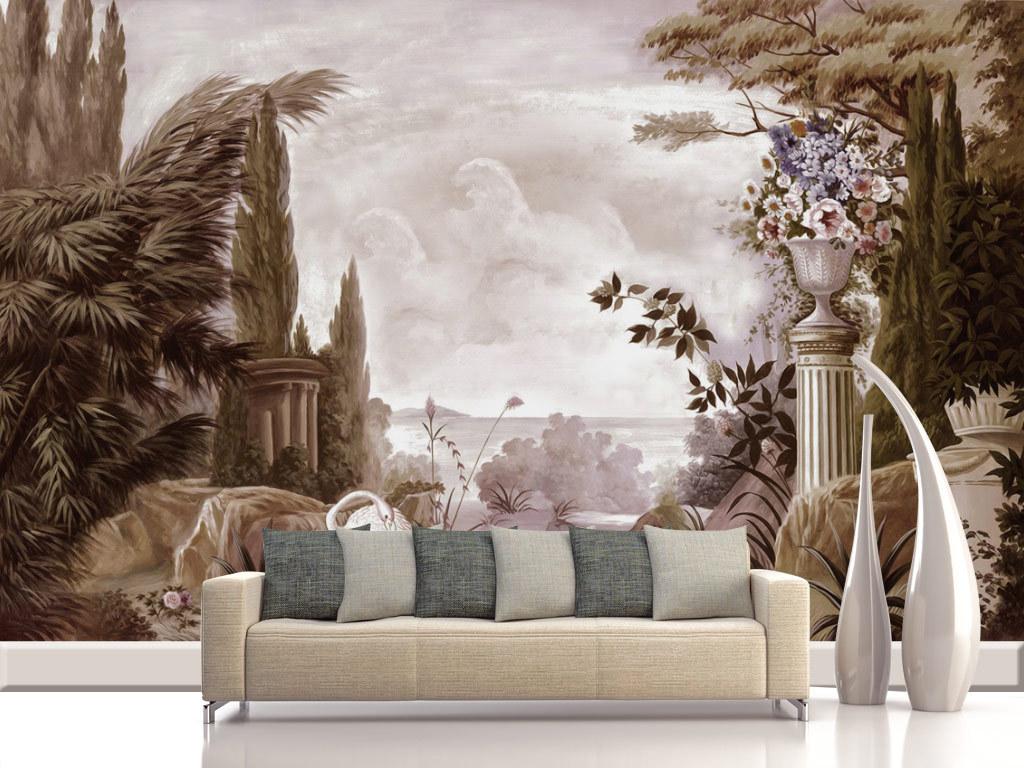 中世纪手绘宫廷花园风景背景墙壁画(图片编号:)