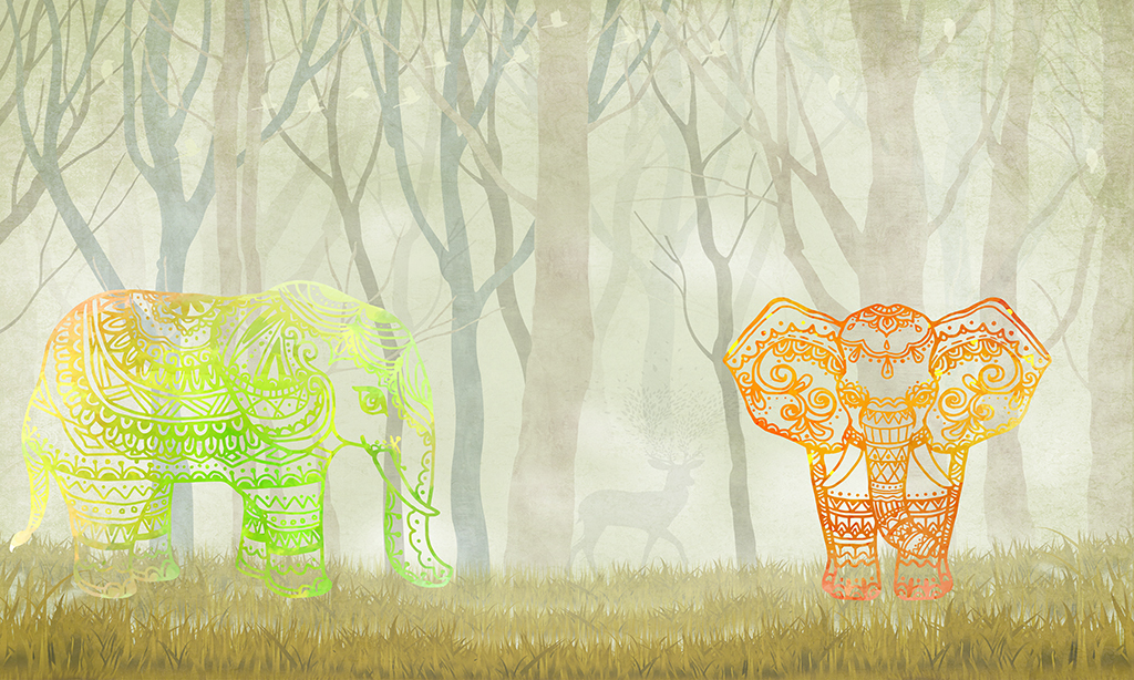 手绘小象小清新欧式背景清新森林森林背景五彩网通