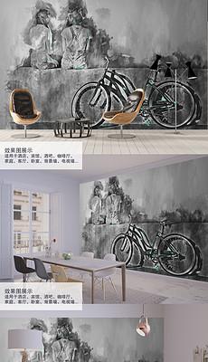 黑白2个朋友与自行车背景墙装饰画