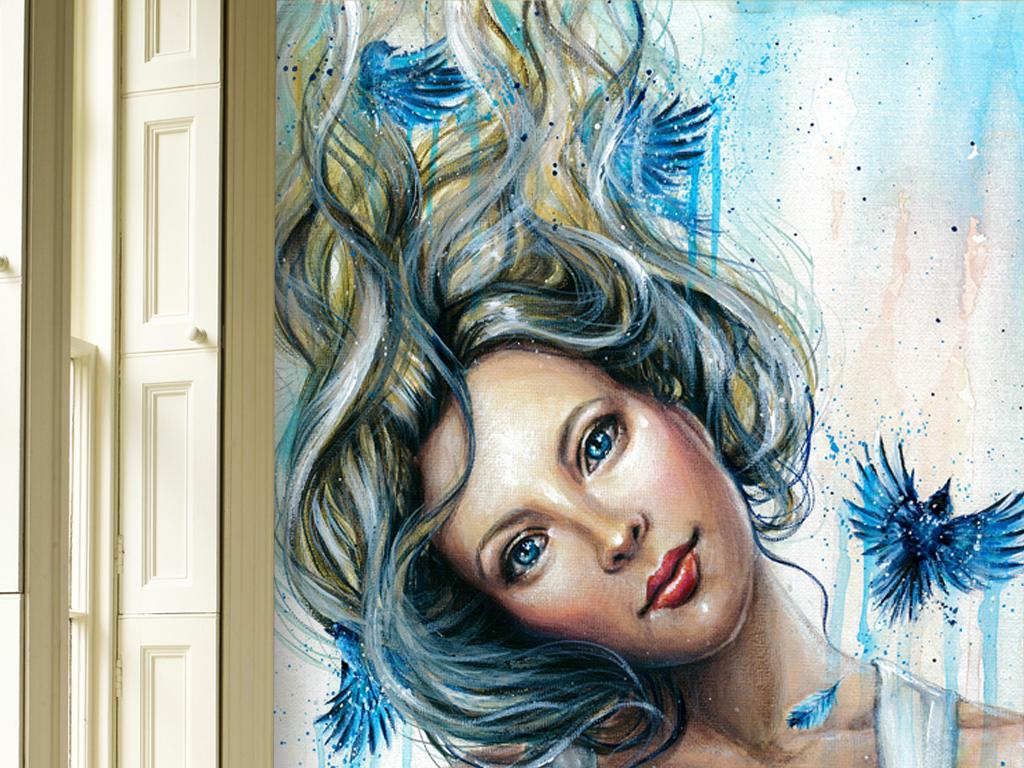 手绘美克美家欧式复古软装绘画挂画女人相机复古蓝色