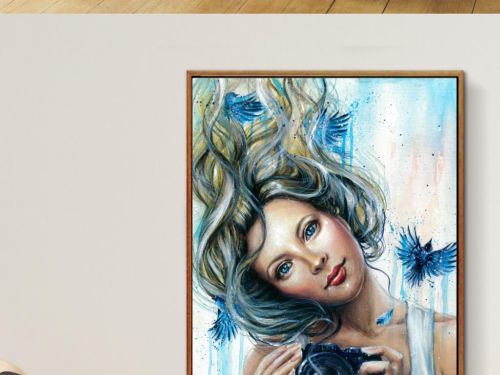 欧式复古软装绘画挂画女人相机复古蓝色的鸟人物油画