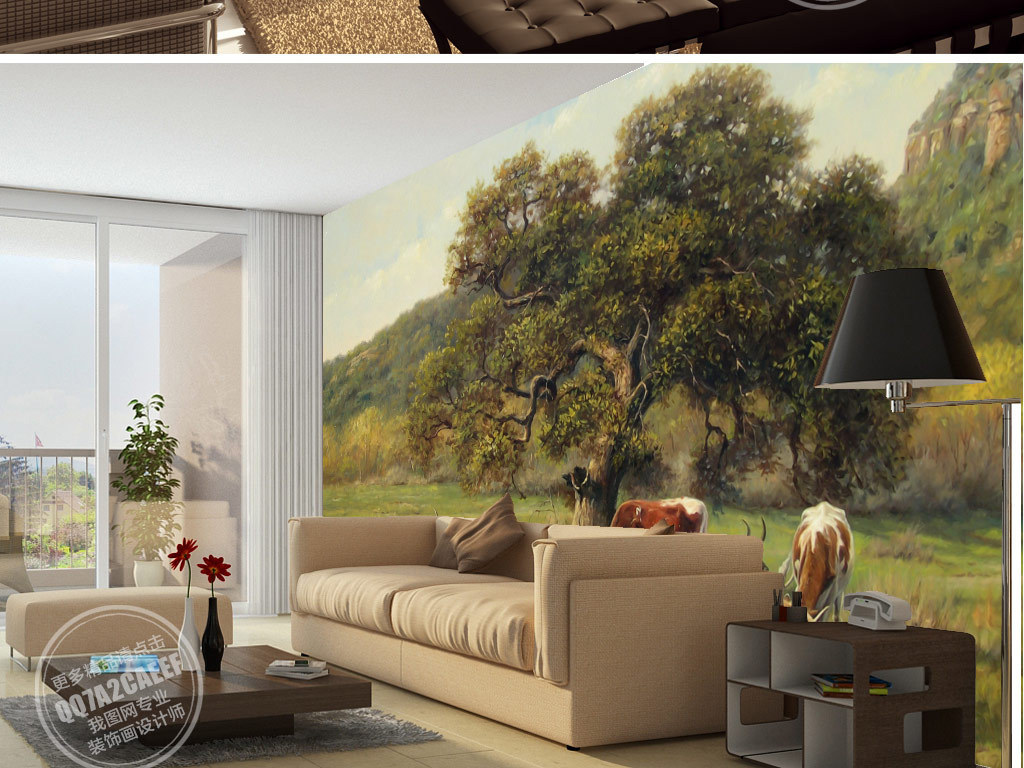 电视背景墙电视墙手绘欧式美式