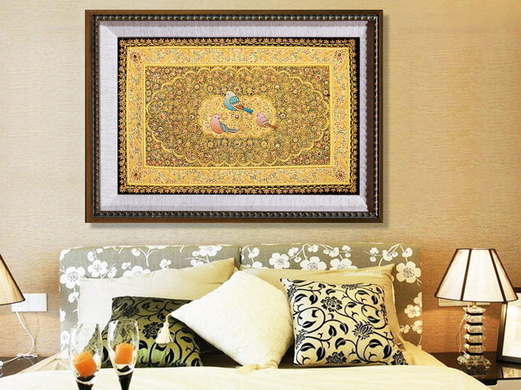 北欧装饰画卧室装饰画插画手绘花富贵花开富贵欧式