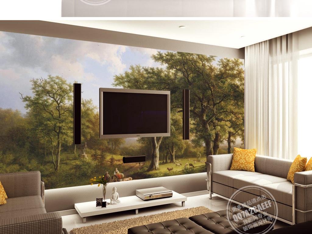 欧式复古手绘森林草地牧羊风景电视背景墙